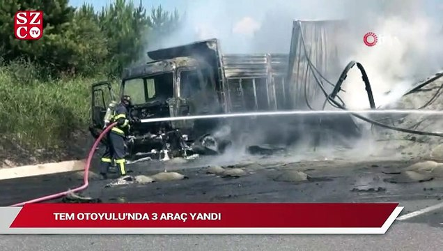 TEM Otoyolu'nda 3 araç yandı: Yol ulaşıma kapatıldı