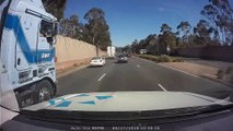 Truck Narrowly Misses Stopped Traffic