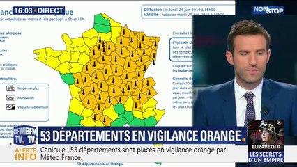 Canicule: Météo France a étendu sa vigilance orange qui comprend désormais 53 départements