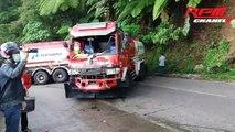 Indonésie :  les freins d'un bus de touristes ont lâchés dans une descente.