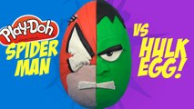 Spiderman vs Hulk Superhero Battle Spiderman Play-doh Surprise Egg with Marvel Toys by KidCity