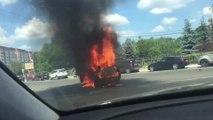 Cet automobiliste va regretter de s'être approché pour filmer une voiture en feu