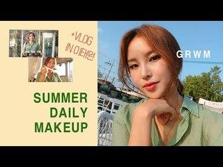 [JPN SUB] GRWM 겟레디윗미! 뽀송뽀송 여름 데일리메이크업하고 핫플 놀러가요!  / [ 브이로그 Vlog] 이태원 루프탑 카페
