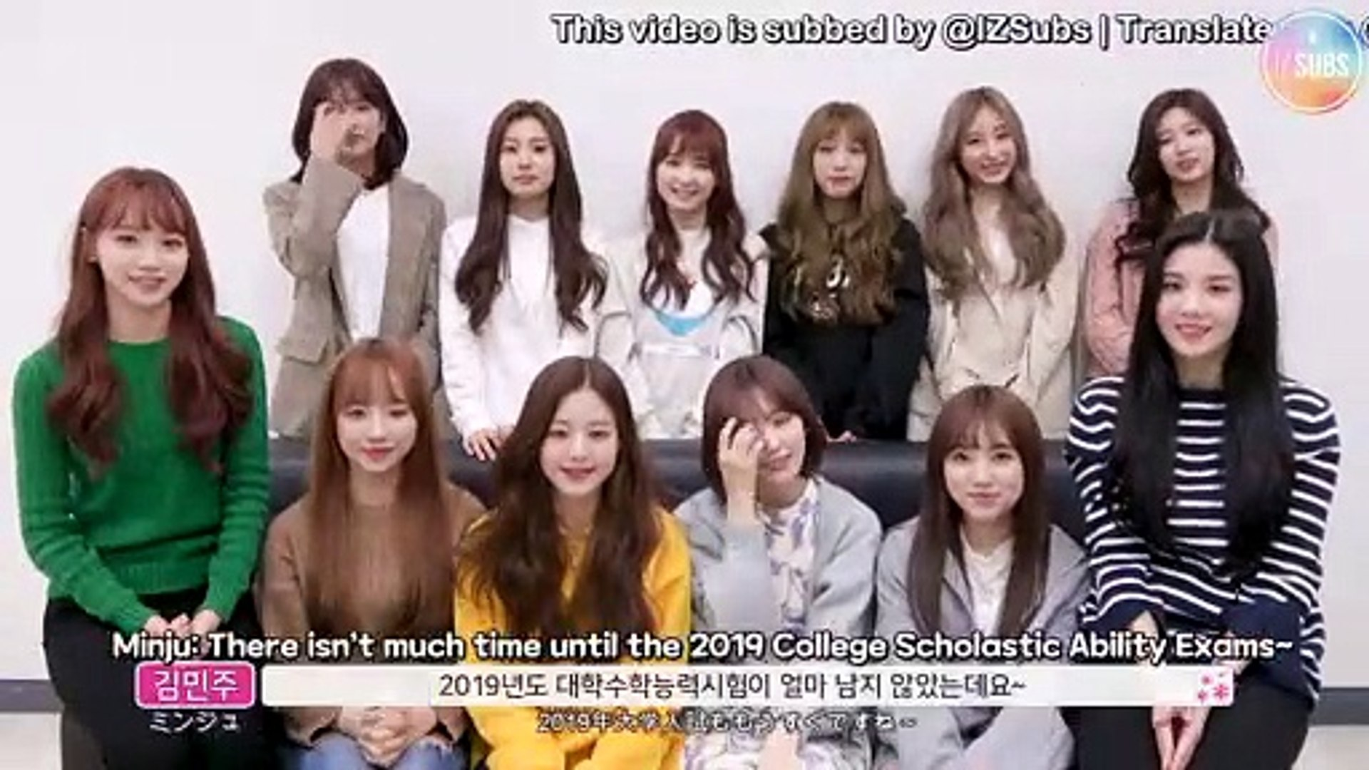 [ENG SUB] 181112 IZ*ONE 2019 College Entrance Exam Support Message