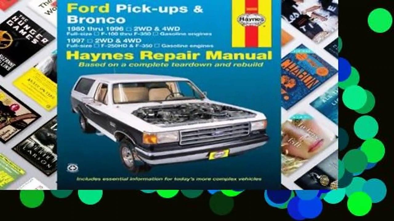 [GIFT IDEAS] Ford Pick-ups & Bronco: 1980 thru 1996 2WD & 4WD Full-size F-100 thru F-350 Gasoline