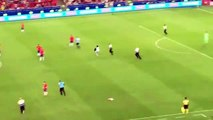 Foot - Copa America - A pitch invader ran on the pitch with a mask, kept sprinting all over the pitch until Gonzalo Jara decided to end it with a tackle