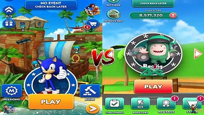 Sonic Dash vs Oddbods Turbo Run - Sonic & Racing Zee New Character Android/iOS Gameplay