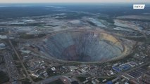 Peer over the edge of GINORMOUS open pit diamond mine