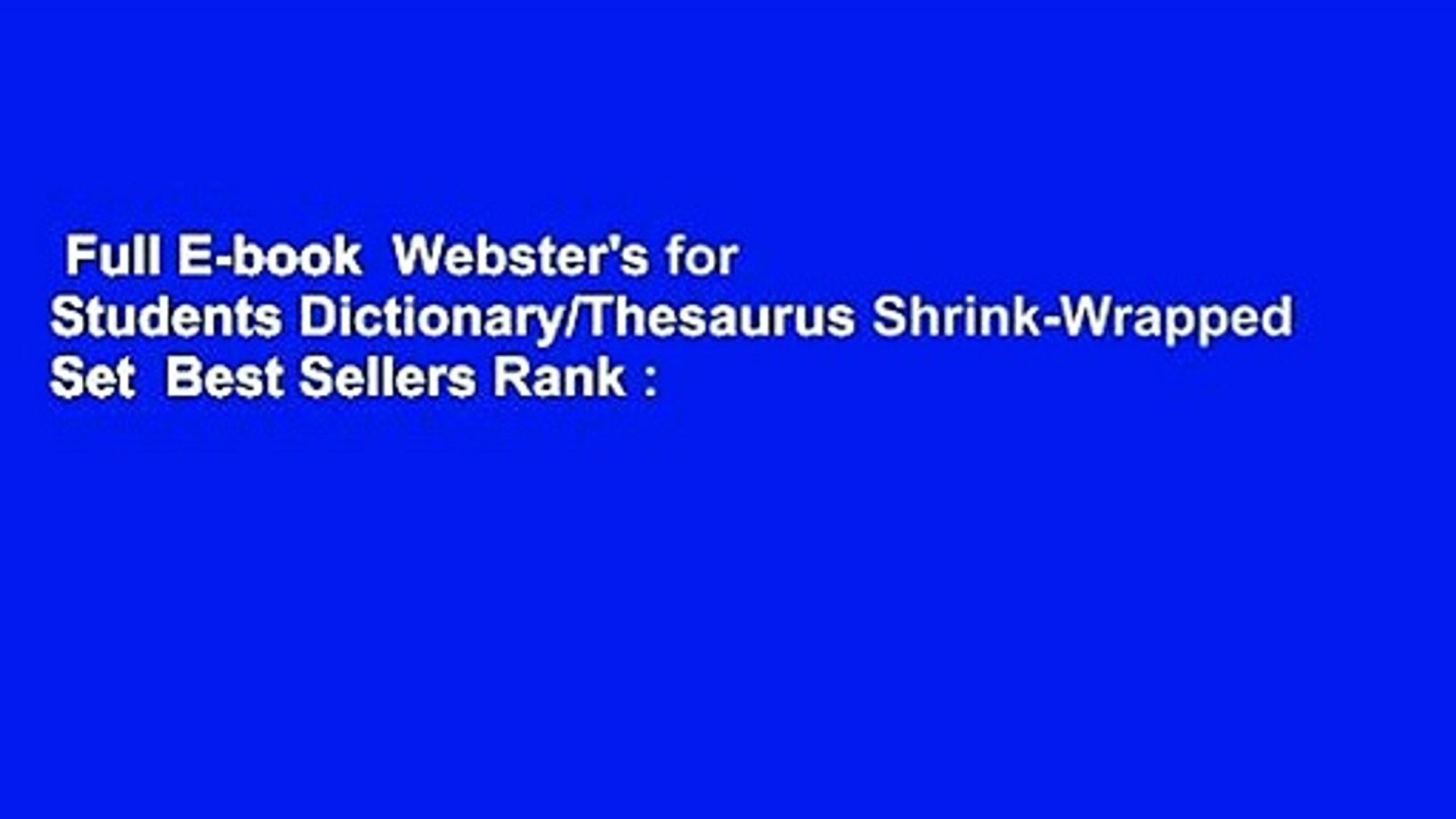 Full E-book Webster's for Students Dictionary/Thesaurus Shrink-Wrapped Set  Best Sellers Rank :
