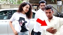 Kangana Ranaut's Bodyguard PUSHES Away A Fan