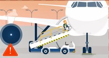 Lay the ground for a safe flight - Use a stepladder to open or close cargo doors