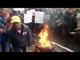 Gorkhaland agitators burning their mobiles in protest against the internet shutdown