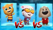 My Talking Ginger vs Cyber Angela vs My Talking Ben — Talking Tom Gold Run — Cute Puppy and Cats