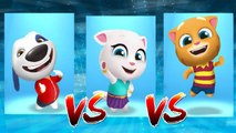 My Talking Hank vs Neon Angela vs My Talking Ginger — Talking Tom Gold Run — Cute Puppy and Cats