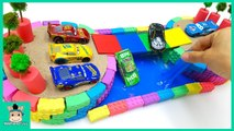 DIY How To Make Oasis With Kinetic Sand Slime W Disney Cars and Learn Colors For Kids - MariAndToys