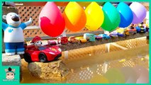 Learn colors with rainbow balls Disney Cars 3 Lightning Mcqueen - Tayo toys for kids - MariAndToys