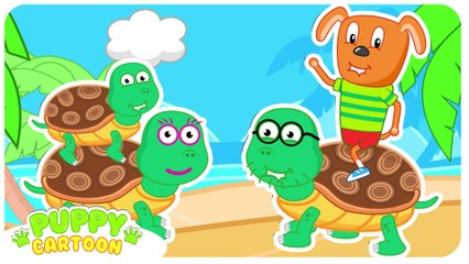 Funny Cartoon TURTLE FAMILY  Puppy Dog Family