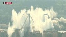 Vidéo : les images du dynamitage du pont de Gênes, dix mois après son effondrement