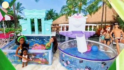 Barbie Doll Water Park Water Slide Pool Party Fun Time Taman air boneka Barbie Parc aquatique | Karla D.