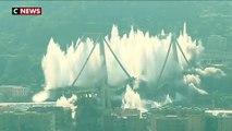 Les dérnières piles du pont de Gênes dynamitées
