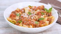 Slow Cooker Bolognese Sauce over Pappardelle Pasta