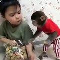 Cette petite fille n'aime pas partager avec son singe. Regardez ce qu'elle fait !