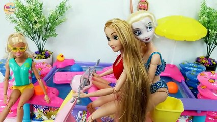 Barbie Rapunzel Elsa Pool Party Swimming - Bedroom New dresses Kolam renang Barbie Piscina boneca | Karla D.