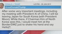 Trump asks in tweet for Kim Jong Un to meet him at DMZ