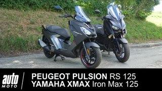 Peugeot Pulsion RS 125 vs Yamaha XMAX Iron Max 125 MATCH en POV Auto-Moto.com