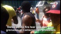 Swiss police fire water cannon, stun grenades at Cameroon protesters