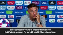 (Subtitled) Phil Neville questions US 'etiquette' after visit to England team hotel ahead of semi-final
