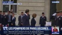 Florence Parly et Christophe Castaner viennent d'arriver à la Caserne Champerret où les pompiers de Paris vont être décorés