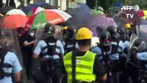 Hong Kong police pepper spray protesters