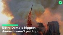 ノートルダム大聖堂:大口寄付金が未払い