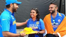 World Cup 2019 : Rohit Sharma hits fan during Century, Makes up with Autographed Hat |वनइंडिया हिंदी