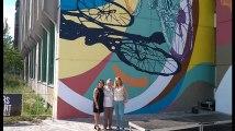 """Inauguration de la fresque murale """"Tour de France 2019: Hommage à Eddy Merckx et Yvonne Reynders"""" d'Amandine Levy"""