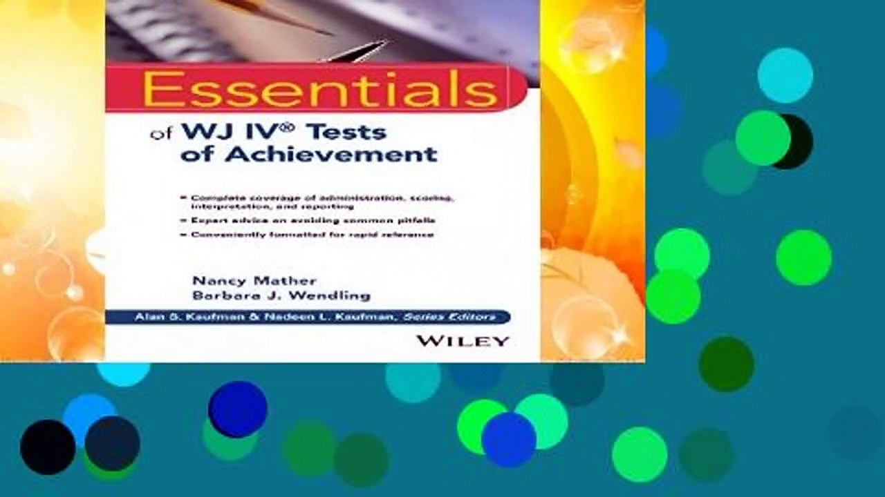 About For Books  Essentials of WJ IV Tests of Achievement (Essentials of Psychological