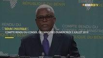 Bénin : compte rendu du conseil des ministres du mercredi 3 juillet 2019