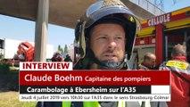 DNA - Carambolage sur l'A35 à Ebersheim, un blessé grave (détails du Capitaine des Pompiers Claude Boehm))