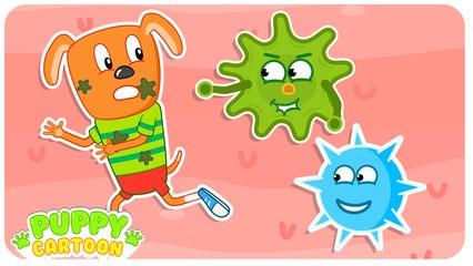 Funny Cartoon   Bacteria and Immunity   Puppy Cartoon Dog Family