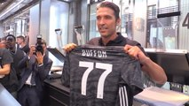Delighted Buffon gets new No. 77 Juve shirt printed on return