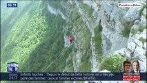 Des funambules ont dû rester en équilibre sur 80 mètres lors du Marmotte Highline Project
