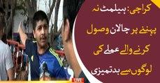 Karachi traffic police fine Bikers for not wearing helmet