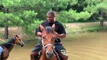 Ce cheval trop chargé déteste l'eau et ce qui devait arriver...