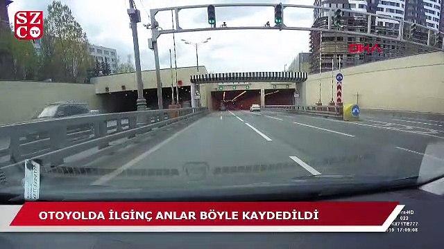 Otoyolda kopan tekeri böyle yakalamaya çalıştı