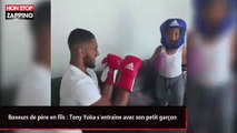 Boxeurs de père en fils : Tony Yoka s'entraîne avec son petit garçon (vidéo)