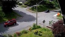 Un cycliste grille le stop à un carrefour et évite le drame de peu... Bon karma
