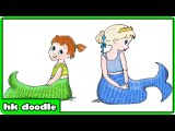 How to Draw New Born Baby Little Mermaids - Hooplakidz Doodle