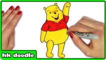 How To Draw Winnie the Pooh - Easy Step by Step Disney Cartoon Drawing For Kids