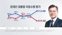 """리얼미터 """"대통령 지지율 6주 만에 50%대...민주 40%·한국 27%"""" / YTN"""